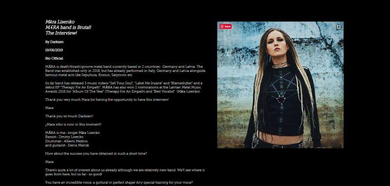 Interview Mara Lisenlo on Darkzen Metal Angels