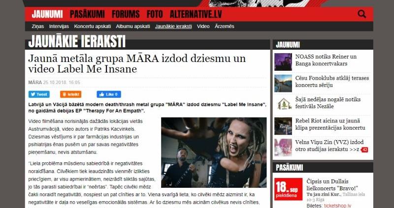 MARA band feat. in Alternative.LV